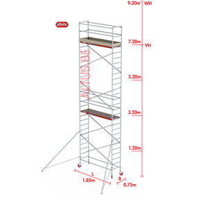 RS-41 Tower 0.75m B x 1.85m L x 7.20m Vh = 9.20 wh traditionele opbouw