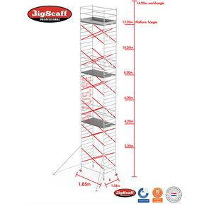 12.20m Stahoogte lengte 1.85m x 1.35m breedte