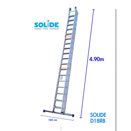 Solide 3-delige professionele solide schuifladder 3 x 18