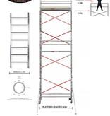 BigScaff RS61 Prof. alu rolsteiger 0.75m x 2.45m x 7.20m Ph= 9.20m WH -