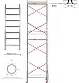BigScaff RS61 Prof. alu rolsteiger 0.75m x 1.85m x 7.20m Ph= 9.20m WH