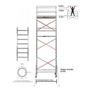 6.20m Stahoogte lengte 1.85m x 0.75m breedte