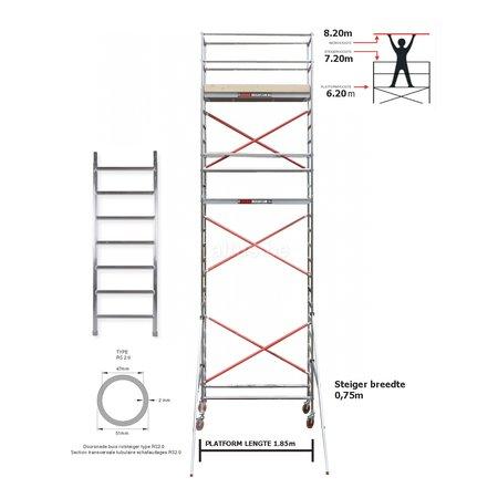 BigScaff RS61 Prof. alu rolsteiger 0.75m x 1.85m x 5.20m Ph= 7.20m WH