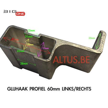 Big-1 Glijhaak  L/R 60 voor Bigone GT-Line