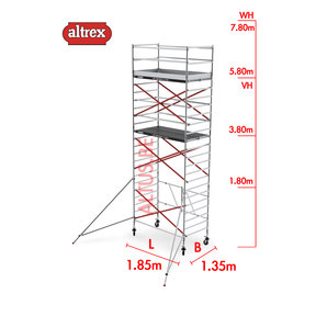 RS TOWER 55 kamersteiger 1.35 x 1.85 x 7.80m WH