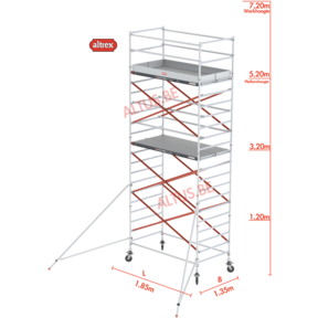RS Tower 52-S traditionele opbouw 1.35 x 1.85 x 7.20m WH