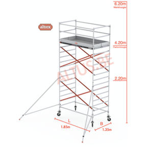 RS Tower 52-S traditionele opbouw 1.35 x 1.85 x 6.20m WH