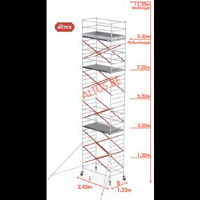 9.20m platformhoogte = 11.20m werkhoogte