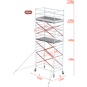 RS Tower 52-S traditionele opbouw 1.35 x 2.45 x 7.20m WH