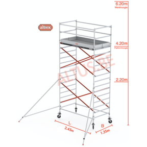 RS Tower 52-S traditionele opbouw 1.35 x 2.45 x 6.20m WH