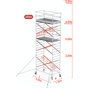 RS Tower 52-S traditionele opbouw 1.35 x 3.05 x 8.20m WH