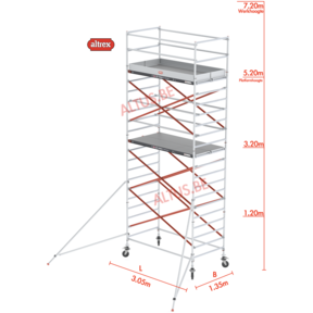 RS Tower 52-S traditionele opbouw 1.35 x 3.05 x 7.20m WH
