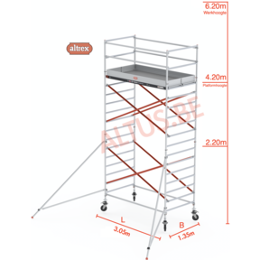 RS Tower 52-S traditionele opbouw 1.35 x 3.05 x 6.20m WH
