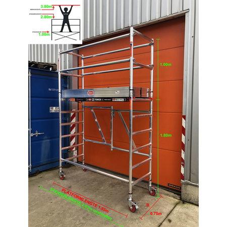 Altrex RS TOWER 54 -smal 0,75m x 1,85m x 3,80m werkhoogte