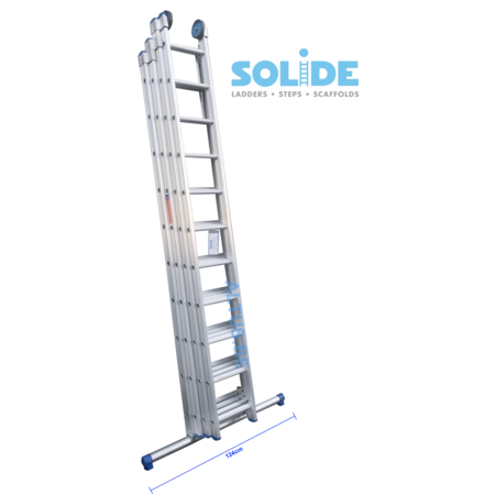 Solide 4-delige Solide professionele schuifladder met stabilisatiebalk, 4x10 sporten