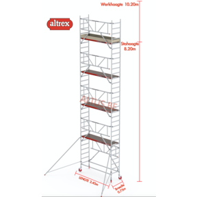 RS TOWER 41-S gevelvrij met Safe-Quick 0.75 x 2.45 x 10.20m WH