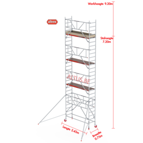RS TOWER 41-S gevelvrij met Safe-Quick 0.75 x 1.85 x 9.20m WH