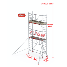 RS TOWER 41-S gevelvrij met Safe-Quick 0.75 x 1.85 x 6.20m WH