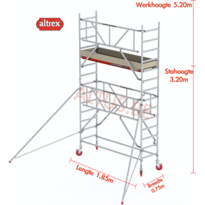 RS TOWER 41-S gevelvrij met Safe-Quick 0.75 x 1.85 x 5.20m WH