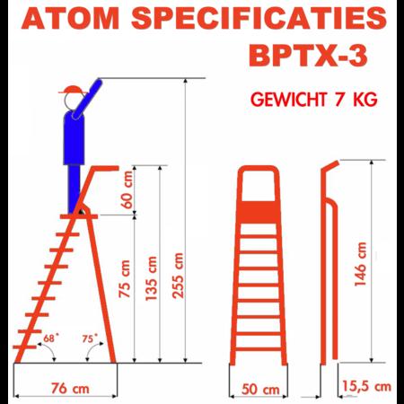 bigone Professionele enkele trapladder 3 treden model ATOM
