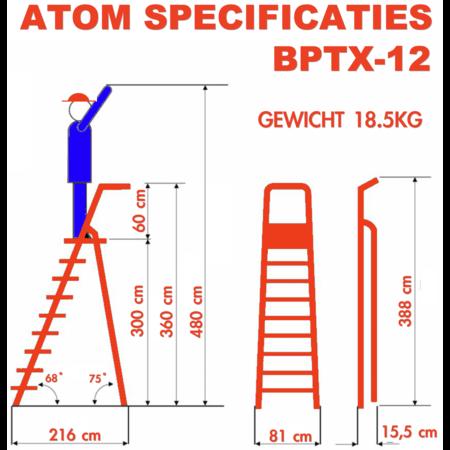 bigone Professionele enkele trapladder 12 treden model ATOM