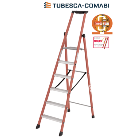 TUBESCA 6 treden Glasvezeltrapladder- Isolerende type Pro Intensif