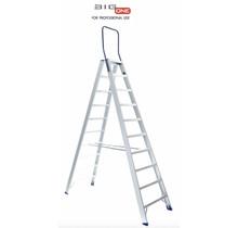 Dubbele trapladder 2x10-treden- stahoogte 2.50m