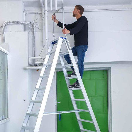 bigone Dubbele trapladder 2x10-treden- stahoogte 2.50m