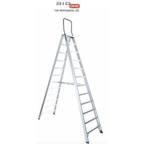 Dubbele trapladder 2x12-treden- stahoogte 3.00m