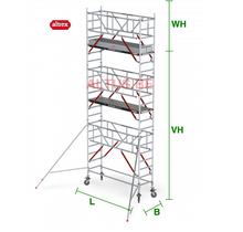 RS Tower 51-S met Safe-Quick 0.90(B) x 2.45(L) x 5.20m (VH) = 7.20m (WH)