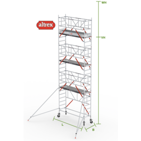 RS Tower 51-S met Safe-Quick 0.90(B) x 2.45(L) x 6.20m (VH) = 8.20m (WH)