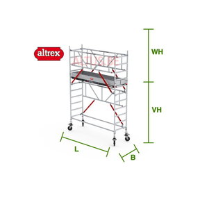 RS Tower 51-S met Safe-Quick 0.90(B) x 3.05(L) x 2.20m (VH) = 4.20m (WH)