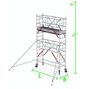RS Tower 51-S met Safe-Quick 0.90(B) x 3.05(L) x 3.20m (VH) = 5.20m (WH)
