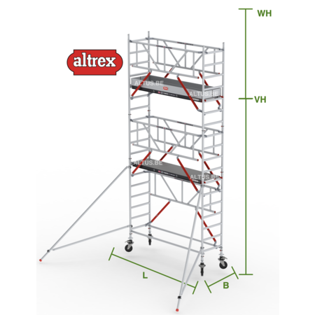 altrex RS Tower 51-S met Safe-Quick 0.90(B) x 3.05(L) x 4.20m (VH) = 6.20m (WH)