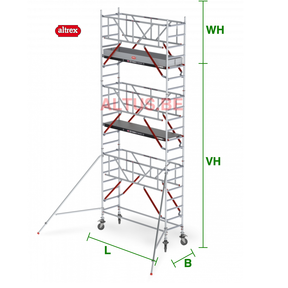 RS Tower 51-S met Safe-Quick 0.90(B) x 3.05(L) x 5.20m (VH) = 7.20m (WH)