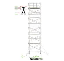 Professionele rolsteiger 12.20m werkhoogte x 135cm breedte x 190cm platformlengte
