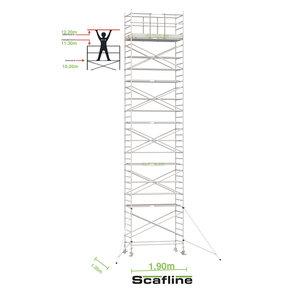 12.20m werkhoogte x 135cm breedte x 190cm platformlengte