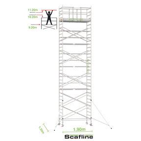 11.20m werkhoogte x 135cm breedte x 190cm platformlengte