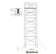 Professionele rolsteiger 10.20m werkhoogte x 135cm breedte x 190cm platformlengte