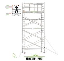 Professionele rolsteiger 7.20m werkhoogte x 135cm breedte x 190cm platformlengte