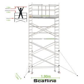 7.20m werkhoogte x 135cm breedte x 190cm platformlengte