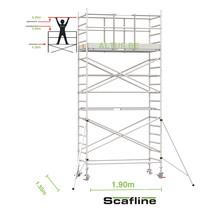 Professionele rolsteiger 6.20m werkhoogte x 135cm breedte x 190cm platformlengte