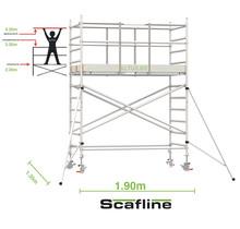 Professionele rolsteiger 4.20m werkhoogte x 135cm breedte x 190cm platformlengte