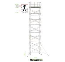 Professionele rolsteiger 13.20m werkhoogte x 135cm breedte x 250cm platformlengte