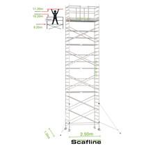 Professionele rolsteiger 11.20m werkhoogte x 135cm breedte x 250cm platformlengte