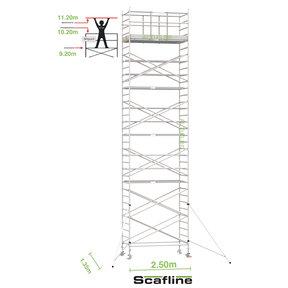 11.20m werkhoogte x 135cm breedte x 250cm platformlengte