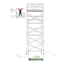 Professionele rolsteiger 9.20m werkhoogte x 135cm breedte x 250cm platformlengte