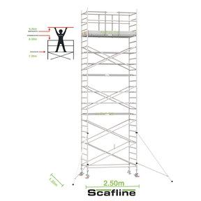 9.20m werkhoogte x 135cm breedte x 250cm platformlengte