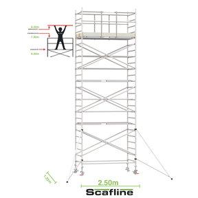 8.20m werkhoogte x 135cm breedte x 250cm platformlengte