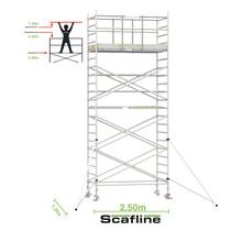 Professionele rolsteiger 7.20m werkhoogte x 135cm breedte x 250cm platformlengte